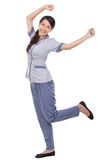 Beautiful Asian maid in uniform very excited Royalty Free Stock Photography