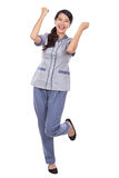 Beautiful Asian maid in uniform very excited Stock Photography