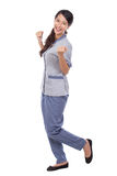 Beautiful Asian maid in uniform very excited Stock Photos