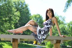 Beautiful asian model outdoors Royalty Free Stock Photos