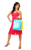 Beautiful asian model posing with shopping bags Stock Photos