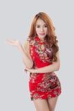 Beautiful Asian model wearing Cheongsam. Isolate on white Stock Image