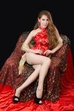 Beautiful Asian model wearing traditional  Cheongsam Stock Photography