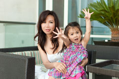 Beautiful Asian mother and daughter Royalty Free Stock Image