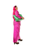 Beautiful asian muslimah woman with green wicker tote bags.Isolated Stock Photo