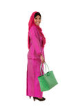 Beautiful asian muslimah woman with green wicker tote bags.Isolated Royalty Free Stock Photos