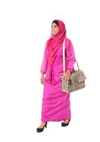 Beautiful asian muslimah woman with wicker tote bag.Isolated Royalty Free Stock Photography