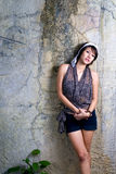 Beautiful asian portrait. A beautiful asian women portrait on wall background Royalty Free Stock Images