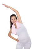 Beautiful asian pregnant woman exersicing, isolated Stock Photos