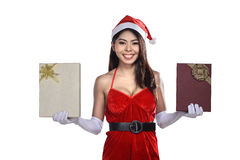 Beautiful asian santa woman holding gift box Royalty Free Stock Photos