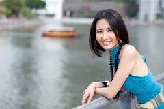 Beautiful Asian at Singapore River Stock Photo