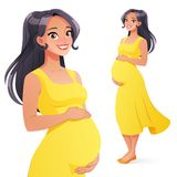 Beautiful Asian smiling pregnant woman. Full length isolated vector illustration. royalty free illustration