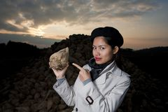 Beautiful asian with sugar beet Stock Images