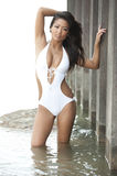 Beautiful Asian Swimsuit Model Royalty Free Stock Photos