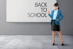 Beautiful asian teacher woman write Back to school royalty free stock photos