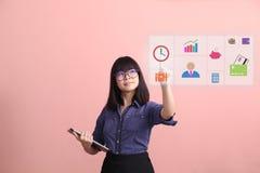 Beautiful Asian teen gesture virtual monitor stock photos