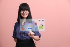 Beautiful Asian teen gesture virtual monitor royalty free stock images