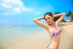Beautiful asian woman on a beach Royalty Free Stock Photo