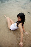 Beautiful Asian woman at the beach Royalty Free Stock Photo