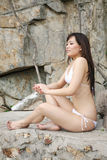 Beautiful Asian woman in a bikini Royalty Free Stock Photos