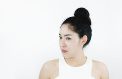 Beautiful Asian Woman with Black Hair, with Healthy Skin, on white background. S Stock Photography