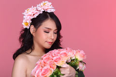 Free Beautiful Asian Woman Black Hair With Flora Crowd, Holding Bouquet Artificial Rose Over Chest Royalty Free Stock Photos - 93322518