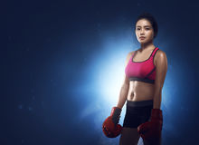 Beautiful asian woman boxer portrait Royalty Free Stock Images