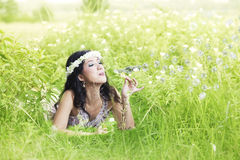 Beautiful asian woman with bubble Stock Image