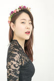 Beautiful asian woman with chaplet Royalty Free Stock Photography