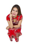 Beautiful asian woman with chinese traditional dress, Chinese ne Royalty Free Stock Photography