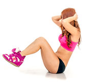Beautiful Asian woman doing situps. Gorgeous Chinese female fitness routine Stock Photo