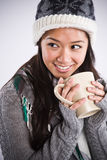 Beautiful asian woman drinking coffee Stock Images