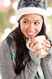 Beautiful asian woman drinking coffee Royalty Free Stock Images