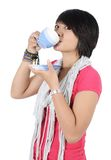 Beautiful asian woman drinking a coffee Stock Images