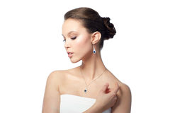 Beautiful asian woman with earring and pendant Stock Photo