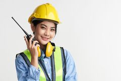 Free Beautiful Asian Woman Engineer And Safety Helmet On White Background, Construction Concept, Engineer, Industry Royalty Free Stock Photos - 220470728