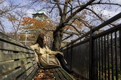 Beautiful asian woman enjoyed sitting on a wooden branch in the autumn garden with Osaka castle in background royalty free stock image