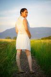 Beautiful asian woman enjoying nature Stock Photo