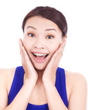 Beautiful asian woman extreme happily expression Stock Image