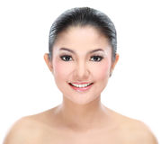 Beautiful asian woman face. With smile for skincare, cosmetic, beauty hygiene, makeup, moisturize Stock Images
