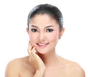 Beautiful asian woman face. With smile for skincare, cosmetic, beauty hygiene, makeup, moisturize Royalty Free Stock Photo