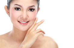 Beautiful asian woman face. With smile for skincare, cosmetic, beauty hygiene, makeup, moisturize Stock Photography