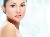 Beautiful asian woman face. With smile for skincare, cosmetic, beauty hygiene, makeup, moisturize Stock Photo