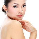 Beautiful asian woman face. With smile for skincare, cosmetic, beauty hygiene, makeup, moisturize Royalty Free Stock Image