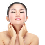 Beautiful asian woman face. With smile for skincare, cosmetic, beauty hygiene, makeup, moisturize Stock Image