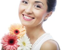 Beautiful asian woman with flower iris Royalty Free Stock Image