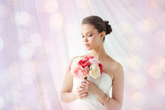 Beautiful asian woman with flower and jewelry Stock Image