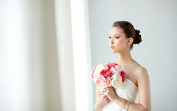 Beautiful asian woman with flower and jewelry Stock Photography