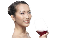 Beautiful Asian Woman with glass white wine Stock Photos