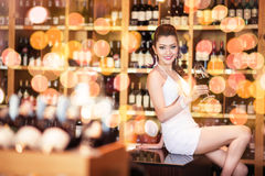 Beautiful asian woman with a glass of wine Stock Photography